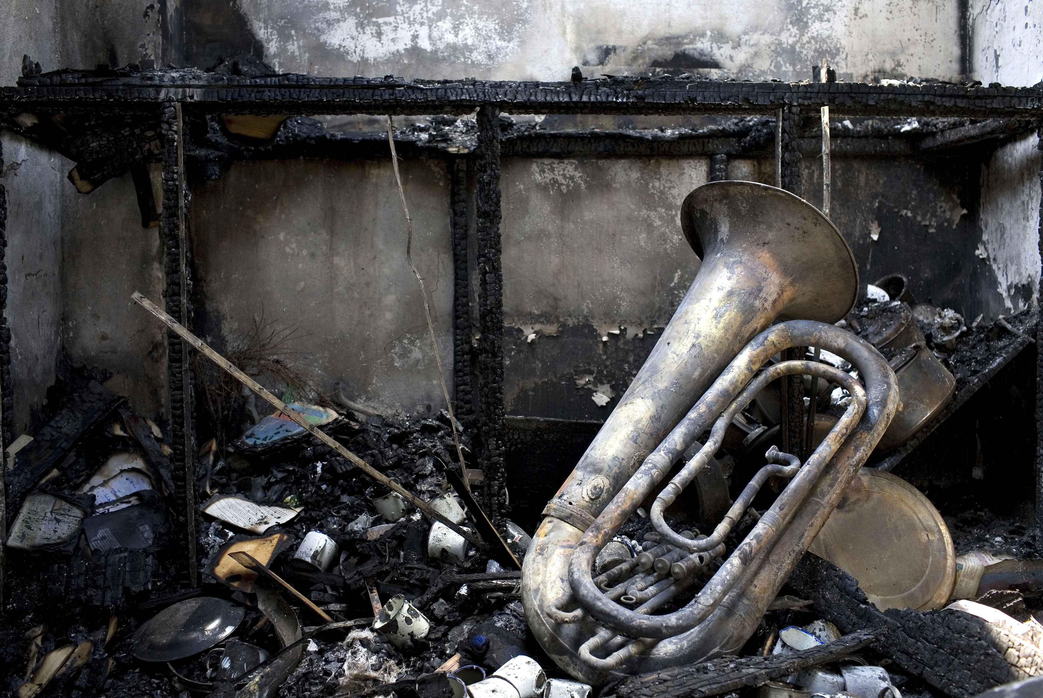 Musical equipment is seen in a charred room of the Salvation Army Church that was attacked by rioting youths in the city of Mombasa in Kenya
