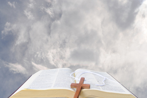 Bible in clouds