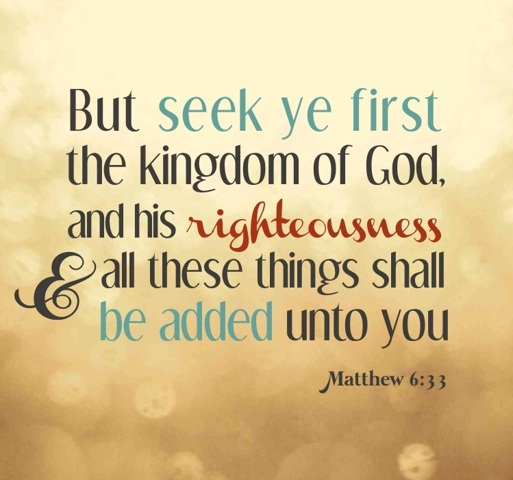 Image result for seek ye first the kingdom of god